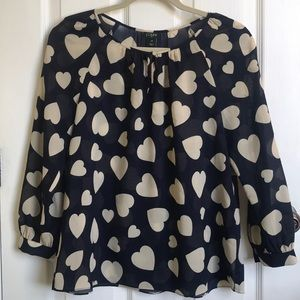 J. Crew  blouse. Navy and Cream hearts 3/4 sleeve